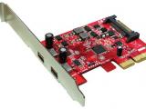 Carte PCI-Express – 2 x USB 3.1 Type C femelle externe, alimentation SATA, équerre low profile